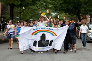 The Youth March leads the parade, featuring the Pride Center's youth program!